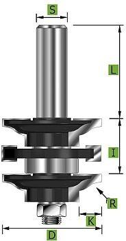 Profil-Konterprofilgarnitur Typ 'B' D 41 mm Schaft 8 mm