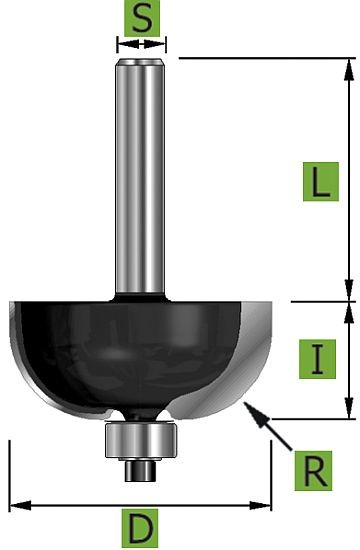 Hohlkehlfräser mit Kugellager Ø28,6 mm