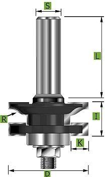 Profil- und Konterprofilfräser Typ 'B' D 41 mm Schaft 12 mm