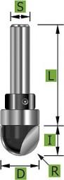 Hohlkehlfräser mit Schaft-Kugellager Ø12,0 mm