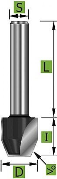 Bündigfräser mit Fase D=12,7mm S=12mm Z2