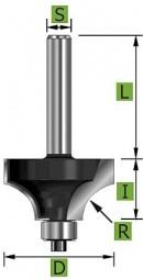 Viertelstabfräser mit Kugellager Ø25,4mm